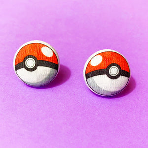 Pokeball Pokemon Inspired Fabric Button Earrings