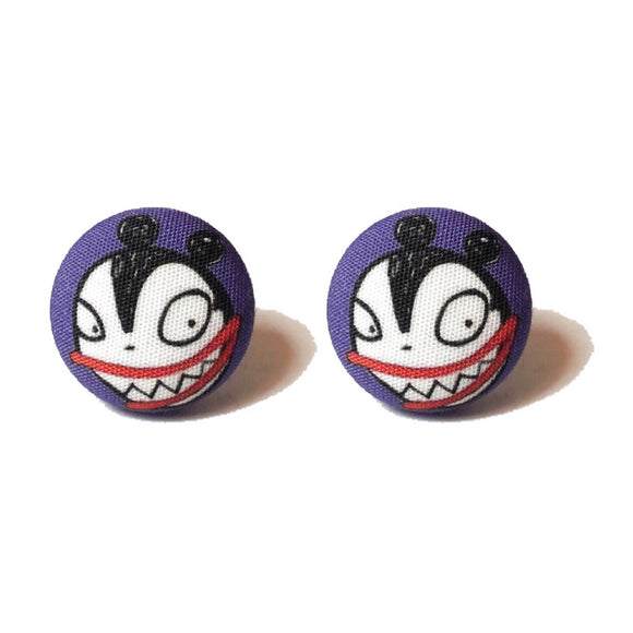 Vampire Teddy Fabric Button Earrings