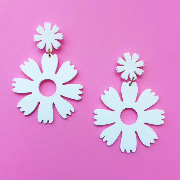 White Acrylic Double Flower Drop Earrings