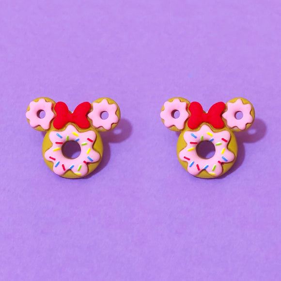 Minnie Mouse Resin Donut Post Earrings