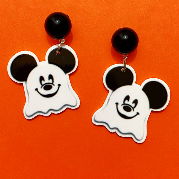 Mouse Ghost Small Acrylic Drop Earrings