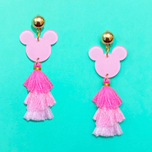 Pink Mouse Tassel Drop Earrings