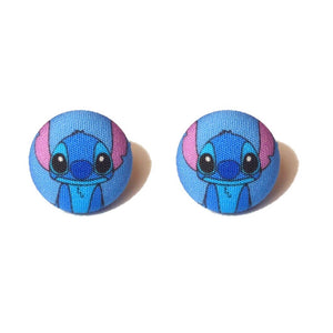 Stitch Inspired Fabric Button Earrings