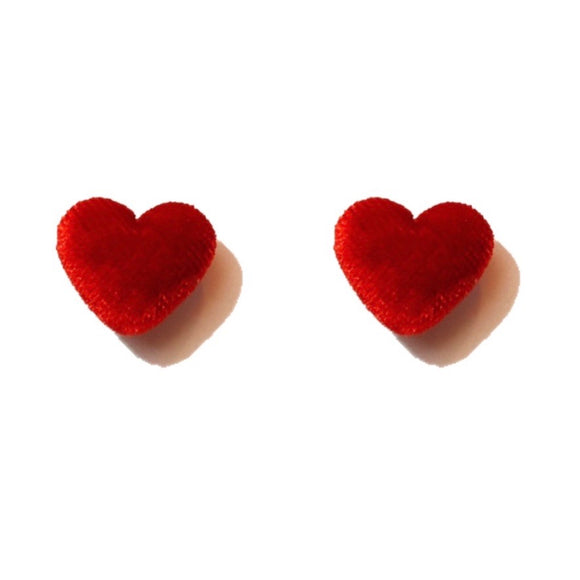 Red Velvet Heart Fabric Button Earrings