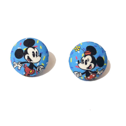 Minnie & Mickey 90th Birthday Fabric Button Earrings