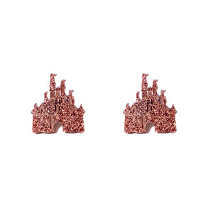 Rose Gold Castle Post Earrings