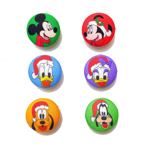 Mickey & Friends Christmas Inspired Fabric Button Earring Set