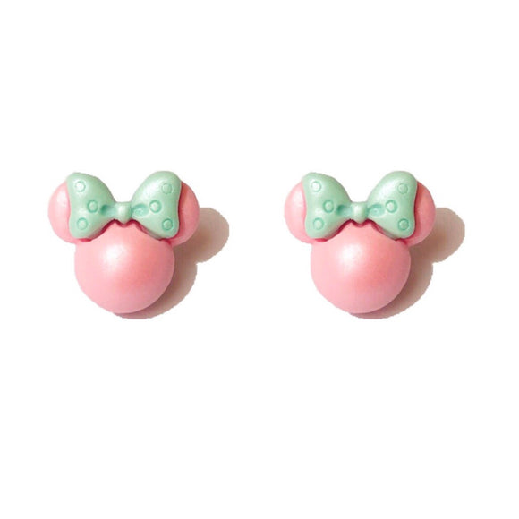 Mint & Pink Pastel Pearlized Minnie Mouse Post Earrings