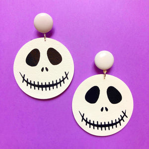 Jack Skellington Head Faux Leather Drop Earrings
