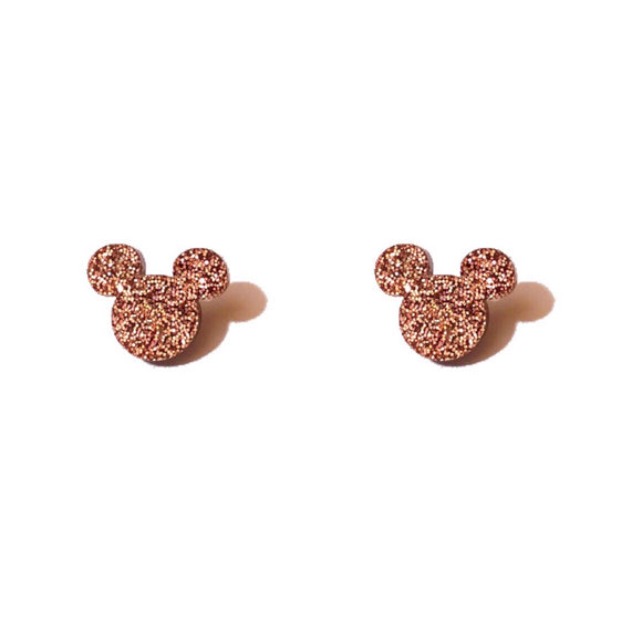 Rose Gold Mouse Post Earrings