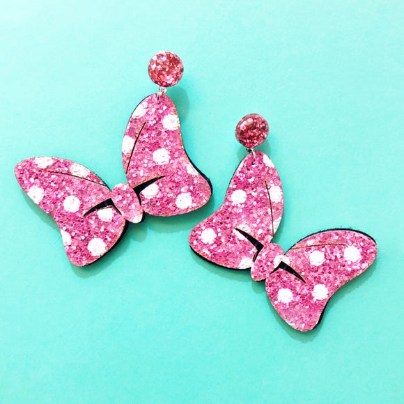 Pastel Pink Sparkle Polka Dot Minnie Bow Drop Earrings