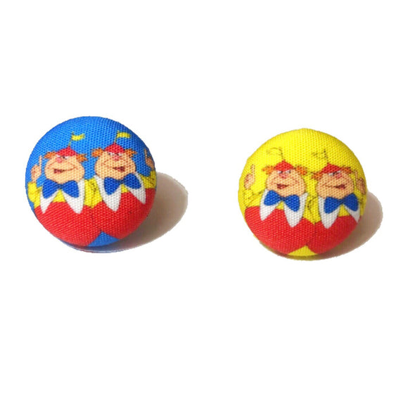 Tweedle Dee & Dum Alice in Wonderland Inspired Fabric Button Earrings