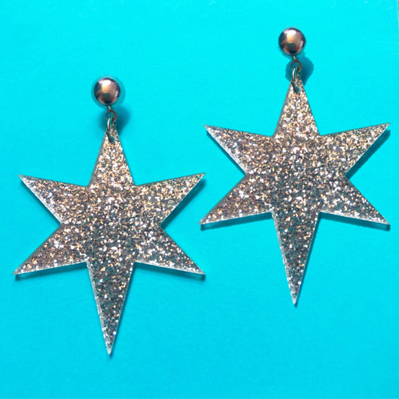 Silver Sparkle Resin Starburst Drop Earrings