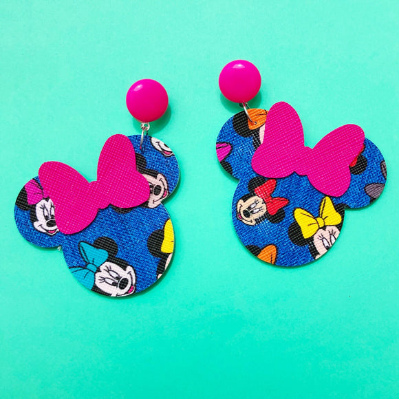 Minnie Denim Print Minnie Mouse Drop Earrings