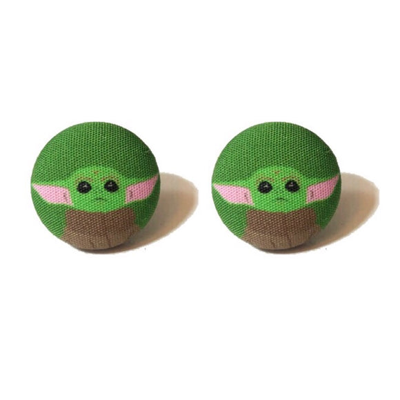 Baby Yoda Star Wars Fabric Button Earrings