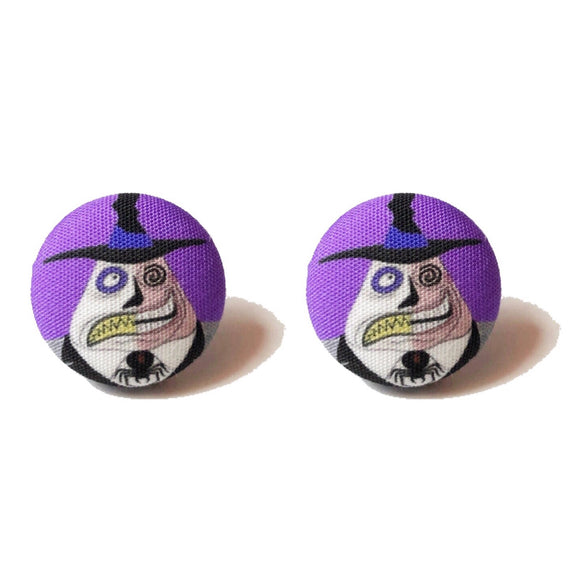 Mayor of Halloween Town Fabric Button Earrings