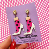 Barbie Inspired Polka Dot Heel Acrylic Earrings