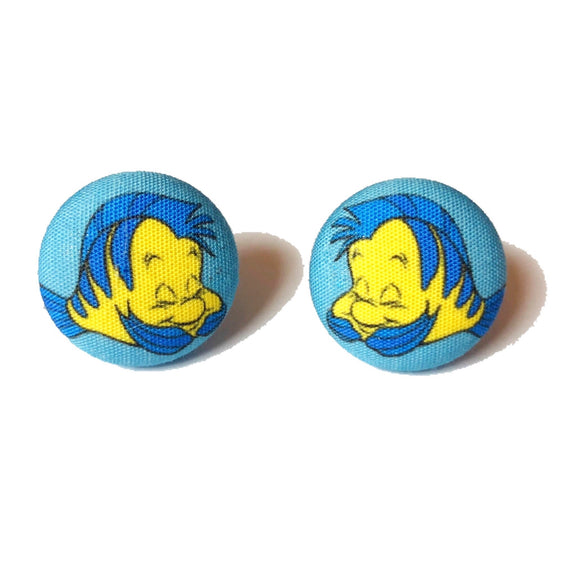Flounder The Guppy Little Mermaid Inspired Fabric Button Earrings