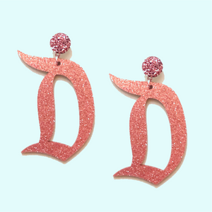 "Rose Gold Acrylic Disneyland ""D"" Drop Earrings"
