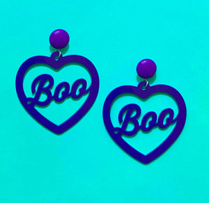 "Purple ""Boo"" Heart Acrylic Drop Earrings"