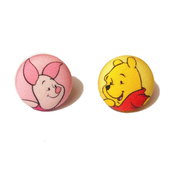 Winnie The Pooh & Piglet Inspired Fabric Button Earrings