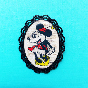 Vintage Minnie Mouse Black Oval Cameo Brooch Pin