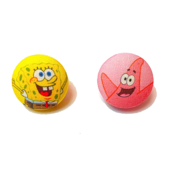 Sponge Bob & Patrick Inspired Fabric Button Earrings
