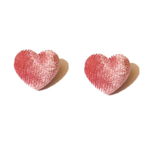 Pink Velvet Heart Fabric Button Earrings