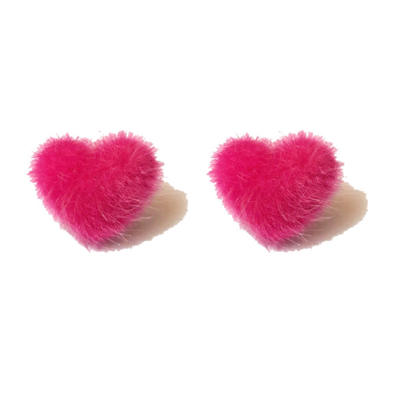 Hot Pink Pom Pom Fluffy Heart Shaped Fabric Button Earrings