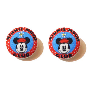 Vintage Minnie Mouse Club Fabric Button Earrings