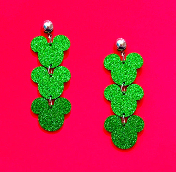 Green Glitter Triple Mouse Drop Earrings