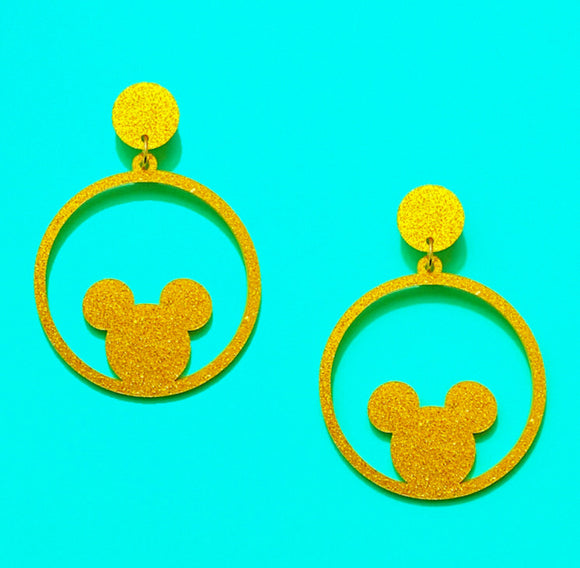 Gold Glitter Round Mouse Silhouette Drop Earrings