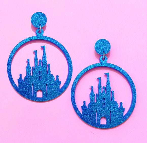 Blue Sparkle Castle Silhouette Hoop Acrylic Drop Earrings