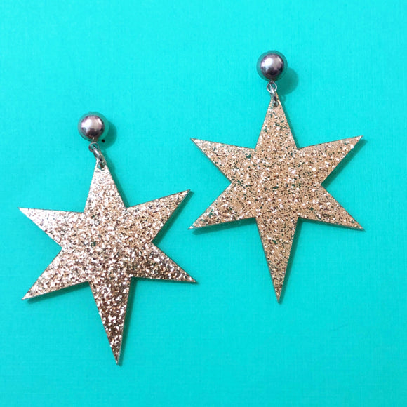 Gold Sparkle Resin Starburst Dangle Drop Earrings