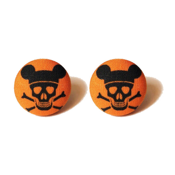 Orange & Black Pirate Mouse Fabric Button Earrings