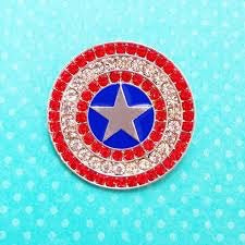 Captain America Sparkle Shield Pin Brooch