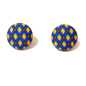 Ravenclaw Argyle Print Harry Potter Inspired Fabric Button Earring
