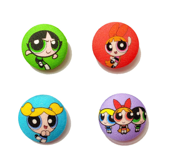 Powerpuff Girls Inspired Mix-and-Match Fabric Button Earrings
