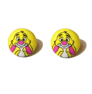 Rabbit Winnie The Pooh Inspired Fabric Button Earrings