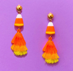 Candy Corn Triple Layer Tassel Drop Earrings