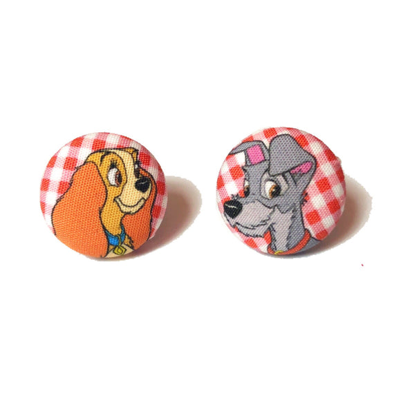 Lady & The Tramp Bella Notte Fabric Button Earrings