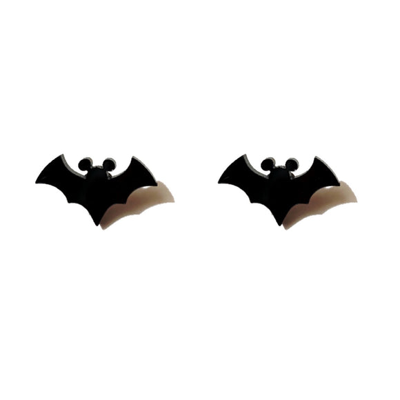 Black Bat Mouse Acrylic Post Earrings