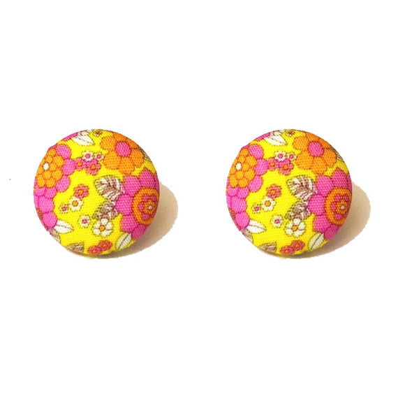 Yellow & Pink Retro Floral Fabric Button Earrings