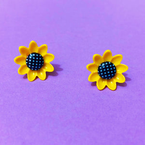 Sunflower Resin Polka Dot Post Earrings