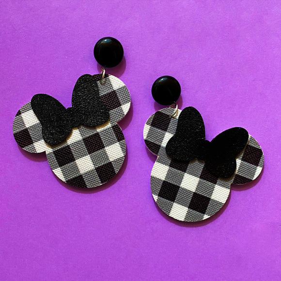 Black Gingham Plaid Print Minnie Mouse Drop Earrings