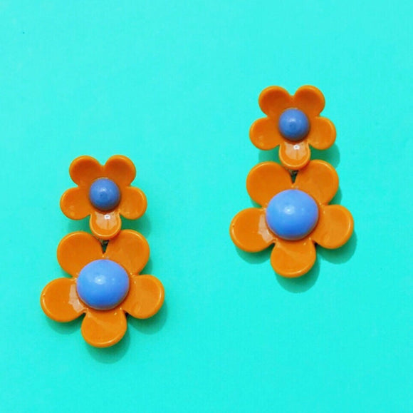 Orange & Purple Retro Double Flower Drop Earrings