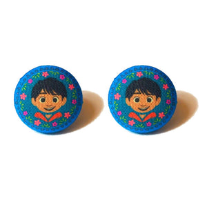 Blue Floral Miguel Coco Inspired Fabric Button Earrings