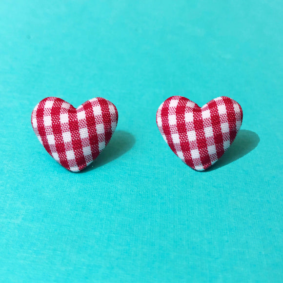 Red Gingham Heart Shaped Fabric Button Earrings