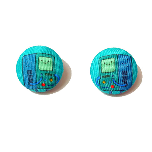 BMO Adventure Time Inspired Fabric Button Earrings