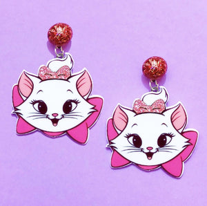 Marie Aristocats Glitter Drop Earrings